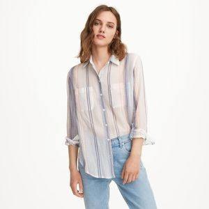 Club Monaco Claudia Shirt Button Down Blue Stripe